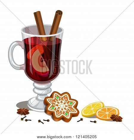 Mulled Wine And Gingerbread Christmas Cookie, Decorated Icing. Holiday Xmas Background For Christmas