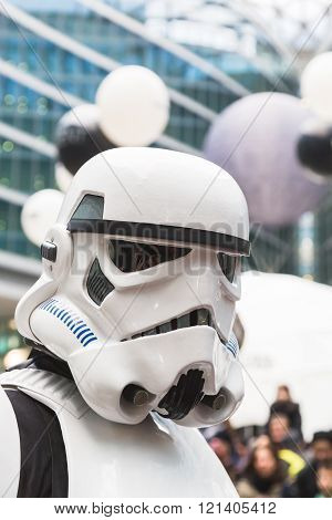MILAN ITALY - MARCH 5: Stormtrooper of 501st Legion official costuming organization takes part in the Star Wars Parade wearing perfectly accurate costumes on MARCH 5 2016 in Milan.