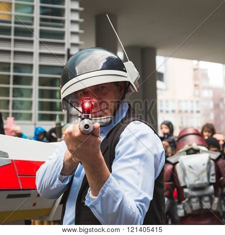 MILAN ITALY - MARCH 5: Man of 501st Legion official costuming organization takes part in the Star Wars Parade wearing perfectly accurate costumes on MARCH 5 2016 in Milan.