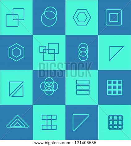 Geometric Flat Icon Logo Set