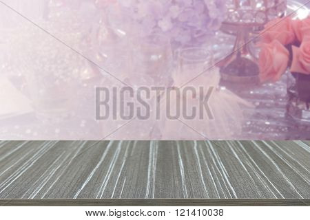 Empty Wooden Table With Wine Glass, Bunch Of Purple Hydrangea, Pink Rose And Crystal Ornament Blur B