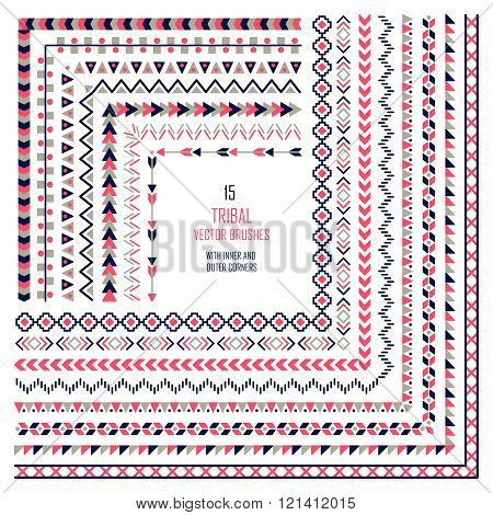 Vector tribal aztec pattern brushes. Ethnic tribal borders. Tribal elements isolated. Boho folk navajo frames. Tribal design. Geometric tribal background