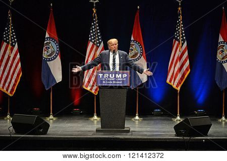 Saint Louis, MO, USA - March 11, 2016: Donald Trump speaks to supporters at the Peabody Opera House in Downtown Saint Louis
