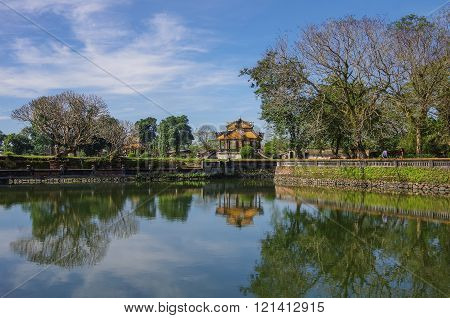 Pavilion And Pond With Reflection In The Royal Forbidden City, Hue, Vietnam