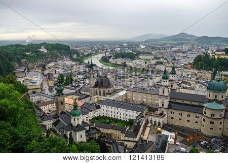 Aerial View Of The Historic City Of Salzburg At Fog And Cloudy Weather, Salzburgerland, Austria
