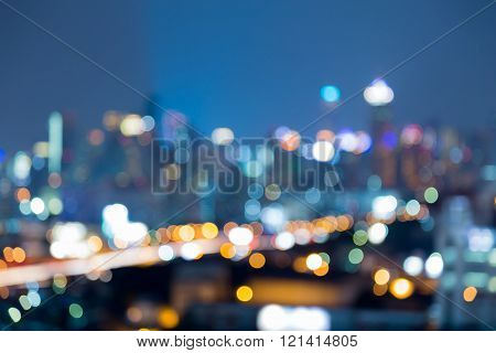 Night blurred bokeh lights city downtown