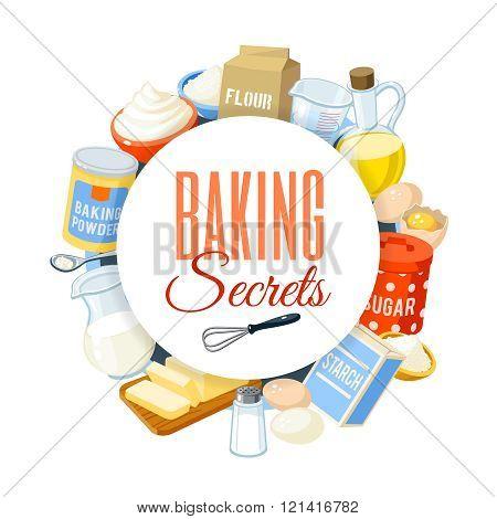 Baking label with flour, eggs, oil, water, butter, starch, salt, whipped cream, baking powder, milk,