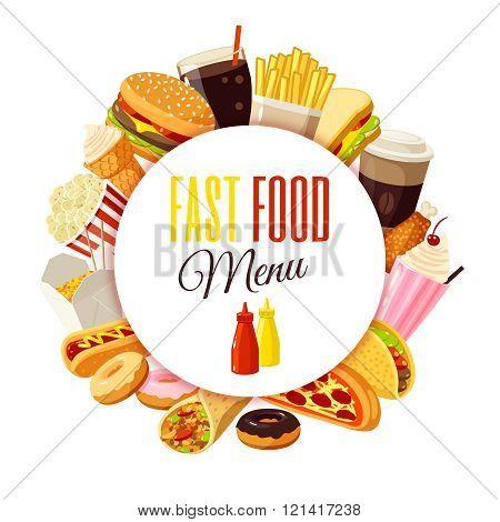 'Fast food menu' label with hamburger, french fries, coffee, sandwich, popcorn, ice cream, pizza, ta