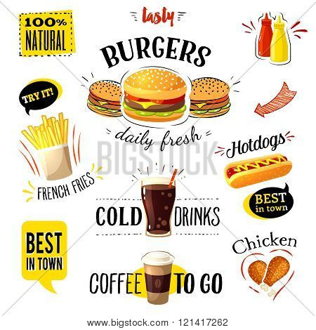 Set of colorful cartoon fast food labels, isolated on white. Vector illustration, eps10.