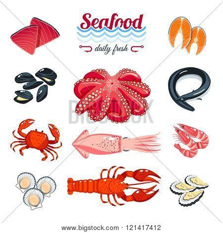 Set of cartoon sea food - tuna, salmon, clams, crab, lobster and so. Vector illustration, isolated o