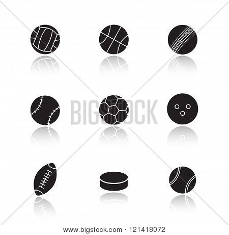 Different sports game balls. Black
