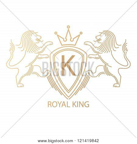 Vector template logo with a symbol of royal power lions crown letters crest. Modern creative logo predatory logo. Mono line logo. Stamping gold foil logo. Company logo. Luxury logo.