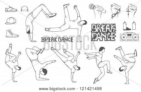 Break Dance silhouettes man and outfit. Set of Breakdance Bboy Silhouettes in Different Poses. Up Down On a Floor On a Head Jump Twist Rotate. Silhouette of young man dance Hip-hop with graffiti