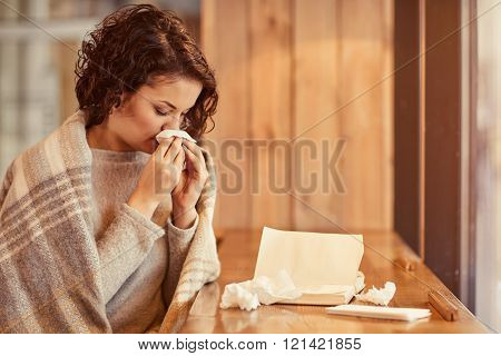 Pleasant woman feeling ill