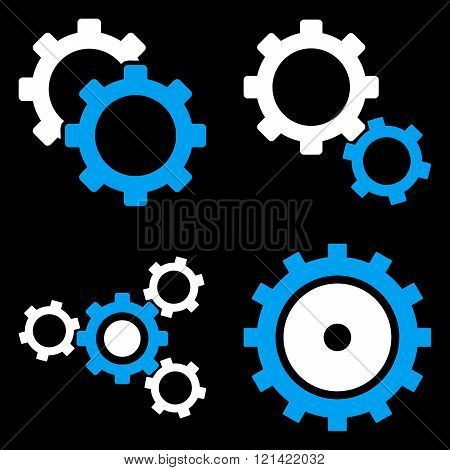 Gear Wheels Flat Vector Symbols