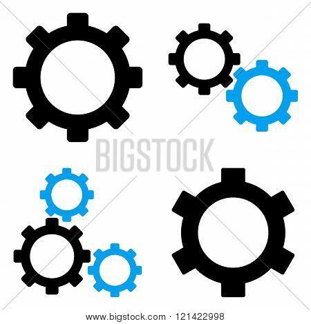 Gears Flat Vector Symbols