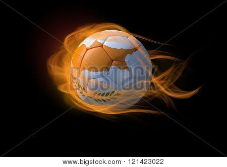 Soccer Ball With The National Flag Of Cyprus, Making A Flame.