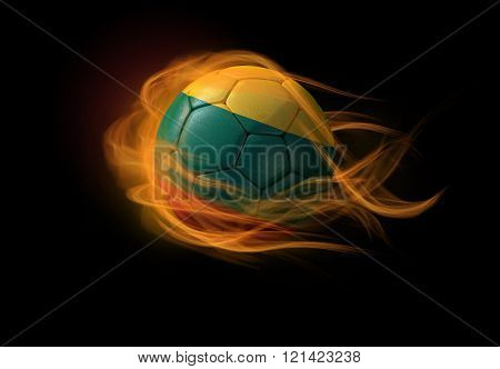 Soccer Ball With The National Flag Of Lithuania, Making A Flame.