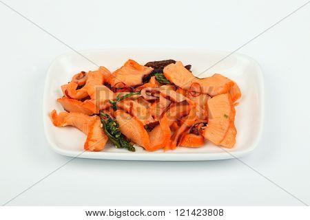 Seafood Squid Salad On White Plate