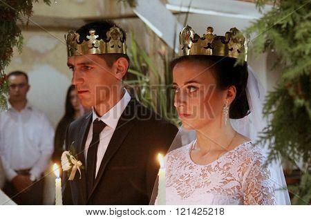 LUTSK UKRAINE - SEPTEMBER 20 - Wedding in Orthodox church in Lutsk on September 20 2015.