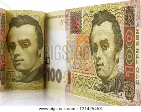 A hundred hryvnia bill.