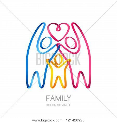 Abstract People Silhouette Made From Colorful Ribbon.