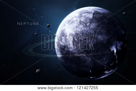 Neptune - High resolution 3D images presents planets of the solar system. This image elements furnis