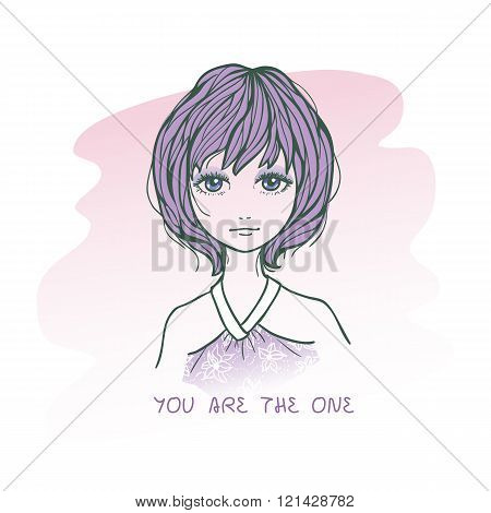 Vector illustration of cute romantic girl in sketching style. Text You are the one. Hand drawn love greeting card.