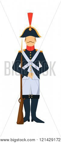 French troop old style armed forces man with weapon illustration.