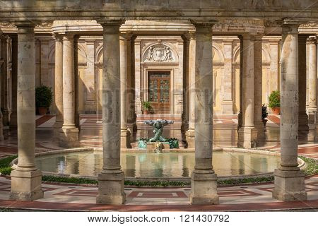 Montecatini, Italy - September 15, 2015: Tettuccio Terme spa - the most famous spa in Montecatini Terme, Italy