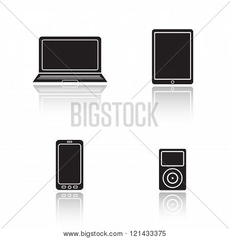 Modern gadgets drop shadow icons set