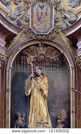 KOTARI, CROATIA - SEPTEMBER 16: Saint Leonard of Noblac, main altar in the church of Saint Leonard of Noblac in Kotari, Croatia on September 16, 2015.