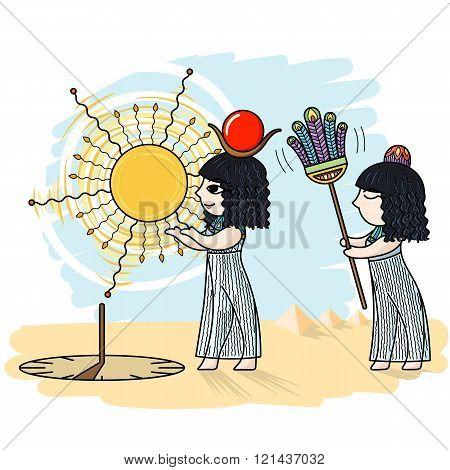 Vector illustration of an Egyptian and a sundial.