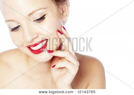 Beautiful face with glamour bright makeup