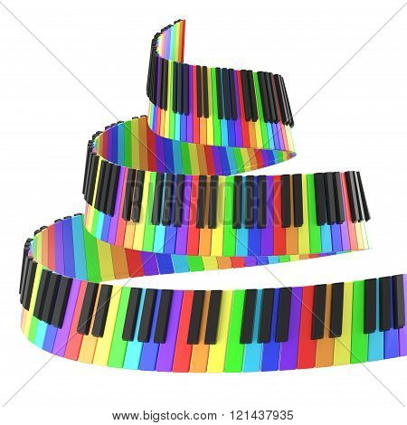 Piano Keyboard In Rainbow Colors