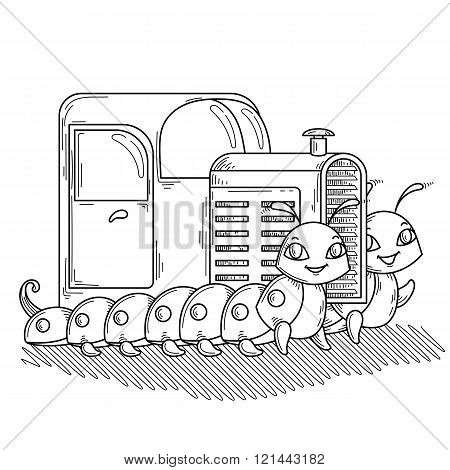 Tractor on the two cheerful and friendly caterpillars.