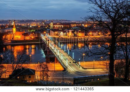 Kaunas, Lithuania: aerial view of Old Town in the sunset