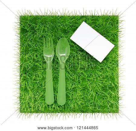 Background About Diets And Proper Nutrition With A Fork And Spoon And Place For Text Or Logo