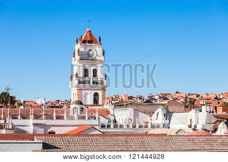 Sucre Cathedral is located on Plaza 25 de Mayo square in Sucre Bolivia poster
