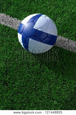 Soccer Ball And National Flag Of Finland,  Green Grass