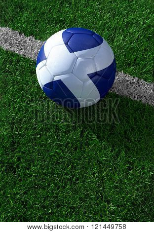 Soccer Ball And National Flag Of Scotland,  Green Grass