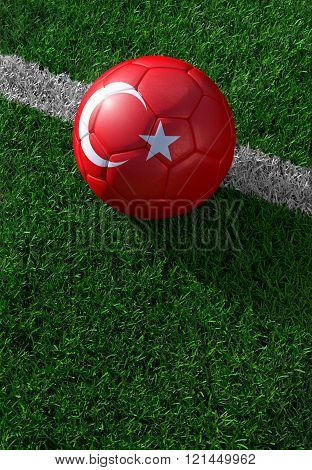 Soccer Ball And National Flag Of Turkey,  Green Grass