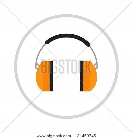 Protective ear vector muffs isolated on a white background.