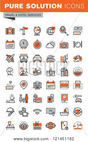 Set of thin line web icons for hotel services and facilities, online booking, travel information