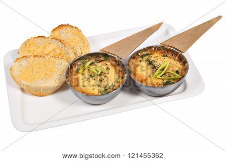 French Cuisine Julienne In Metal Cup, Isolated Studio Shot.