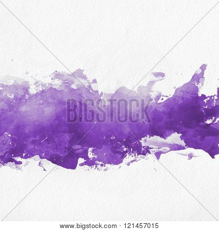 Purple watercolor paint banner with random brushstrokes as a central band over textured white paper with copy space for a design template