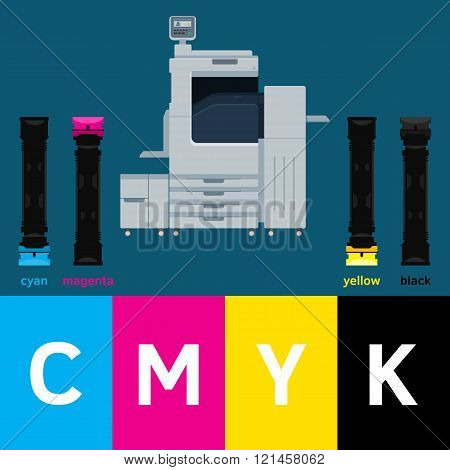 Concept design with digital printer, cartridge and color squares. Vector digital print machine illustration. Polygraph design. Cyan, magenta, yellow and black colors. Info graphics elements.