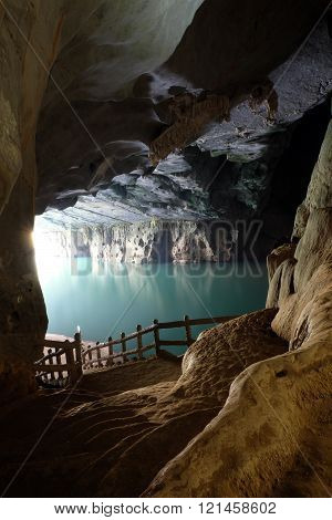 Phong Nha Ke Bang cave an amazing wonderful cavern at Bo Trach Quang Binh Vietnam is world heritage of Viet Nam impression formation abstract shape from stalactite wonderful place for travel poster