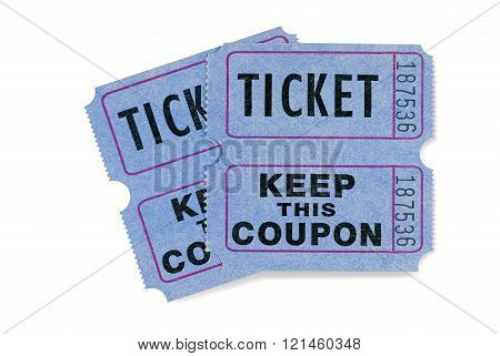 Blue raffle tickets with coupon attached isolated on white