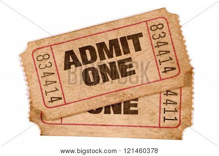 Two Old Torn And Stained Admit One Movie Tickets